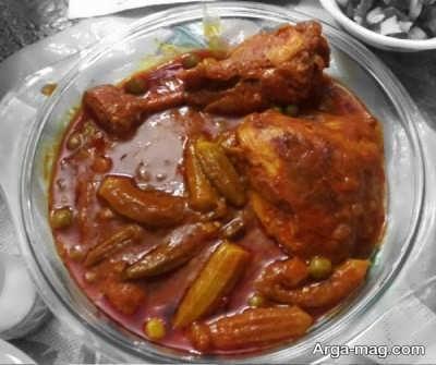 طریقه تهیه خورش مرغ با بامیه