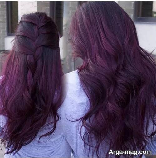 رنگ موی دخترانه شرابی بنفش