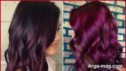 رنگ موی زیبا شرابی بنفش