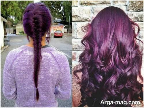 رنگ موی شرابی بنفش دخترانه