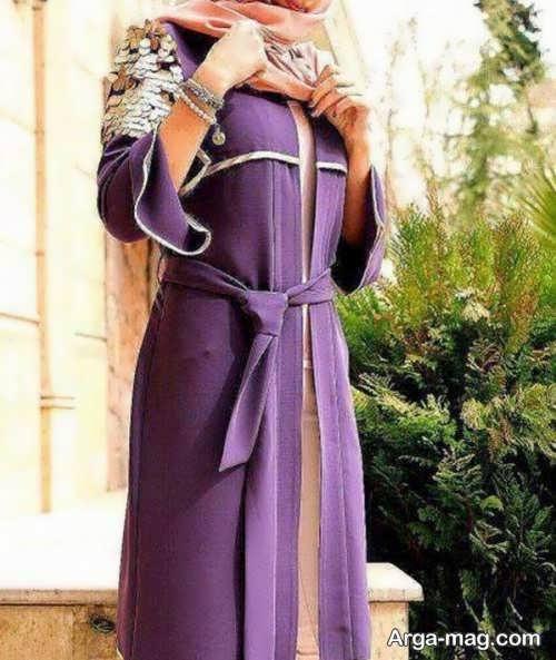 مدل مانتو جلوباز بنفش