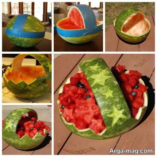 تزیین هندوانه به شکل سبد