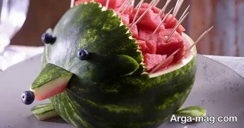 تزیین زیبا و خلاقانه هندوانه برای شب یلدا