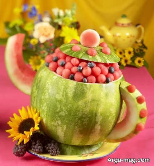 تزیین هندوانه به شکل قوری
