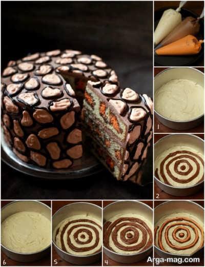 تهیه کیک پلنگی شکلاتی