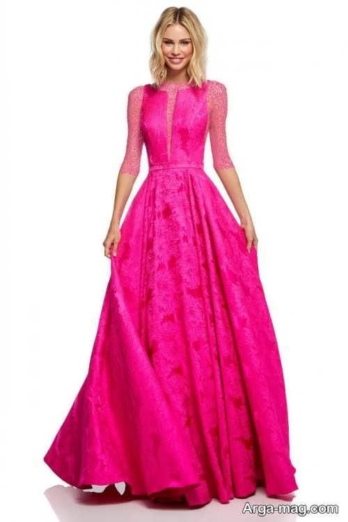 مدل لباس مجلسی صورتی