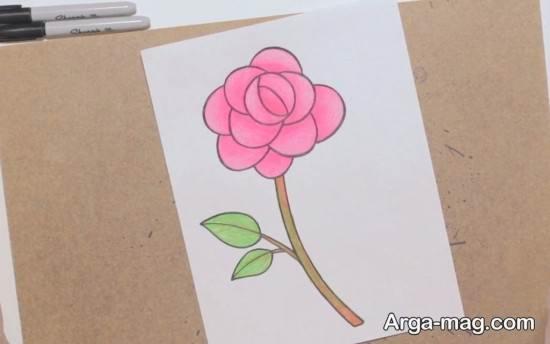 نقاشی جالب گل رز کودکانه
