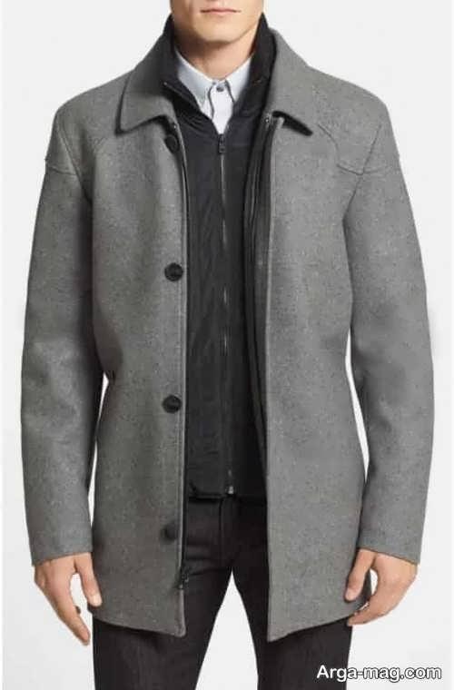 مدل پالتو خاکستری مردانه