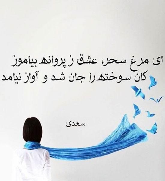 عکس نوشته از سعدی