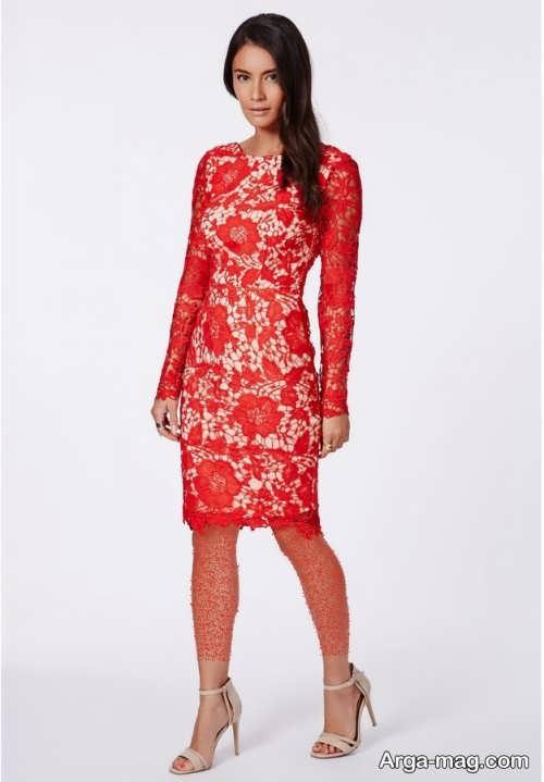 مدل لباس شب کوتاه گیپور قرمز