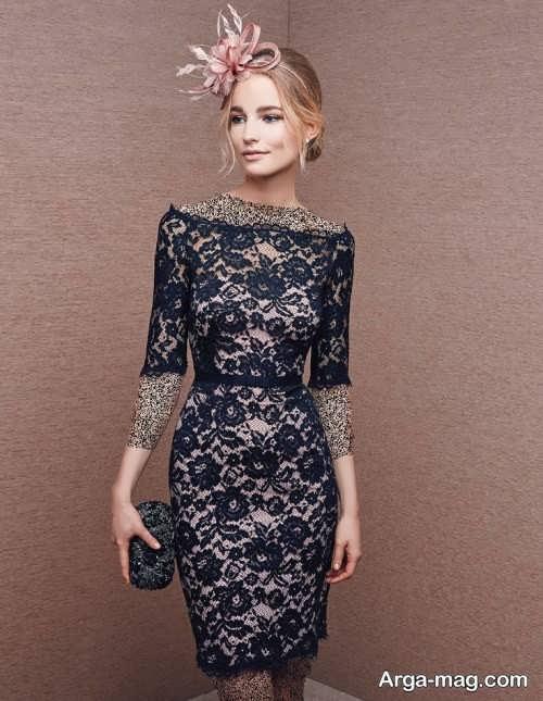 مدل لباس شب کوتاه گیپور دخترانه