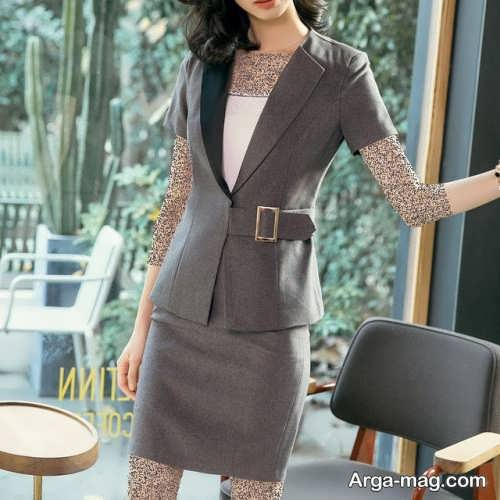 مدل کت و دامن خاکستری