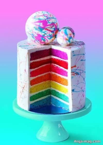 آموزش تهیه کیک رنگین کمان