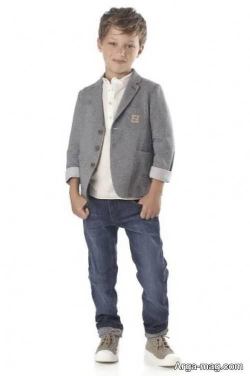 مدل کت پسرانه بچه گانه خاکستری