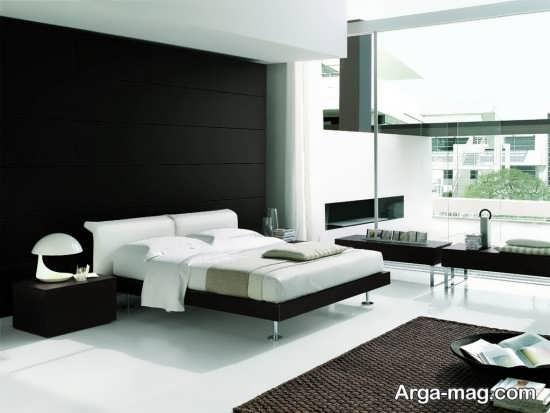طراحی زیبای اتاق خواب سفید مشکی