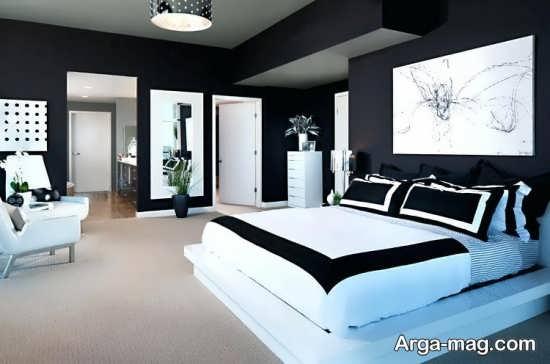 دکوراسیون اتاق خواب سفید مشکی