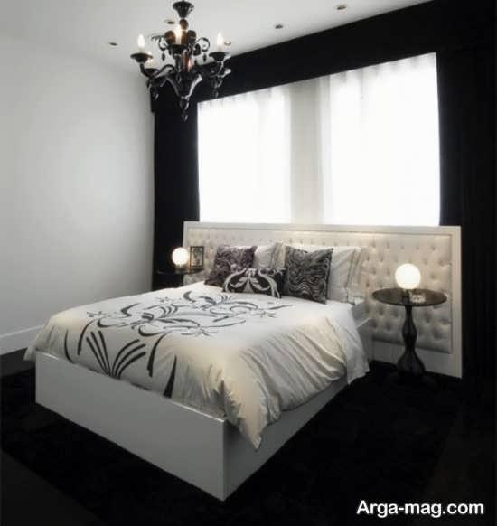 دکوراسیون شیک اتاق خواب سفید مشکی