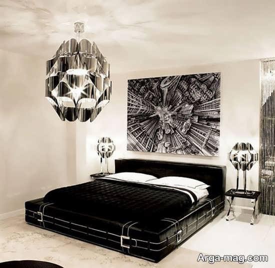 چیدمان اتاق خواب سفید مشکی