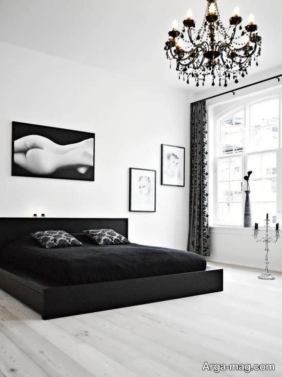 دکوراسیون اتاق خواب مشکی سفید