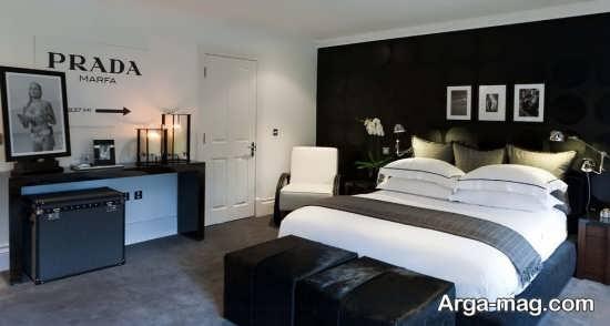 دیزاین متفاوت اتاق خواب سفید مشکی