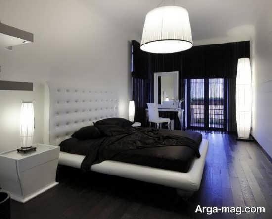 دکوراسیون متفاوت اتاق خواب سفید مشکی