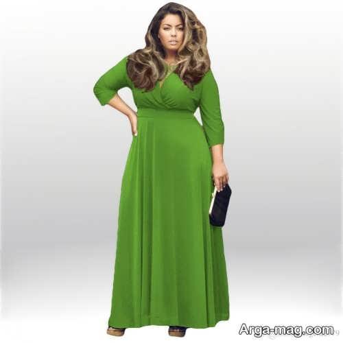 مدل لباس مجلسی سبز برای خانم های چاق