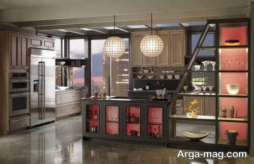 طراحی دکوراسیون آشپزخانه با رنگ مرجانی