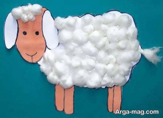 ساخت کاردستی گوسفند با پنبه