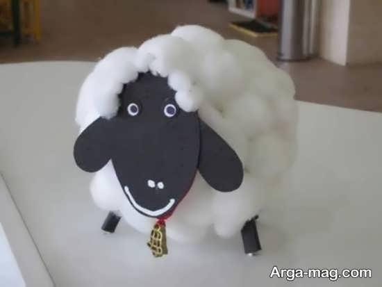 کاردستی گوسفند زنگوله دار با پنبه