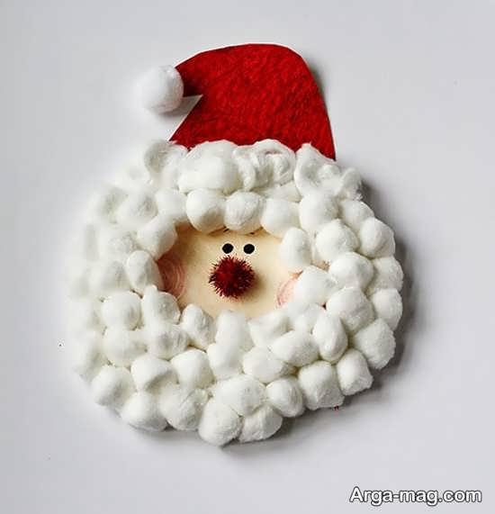 کاردستی بابانوئل با استفاده از پنبه و مقوا