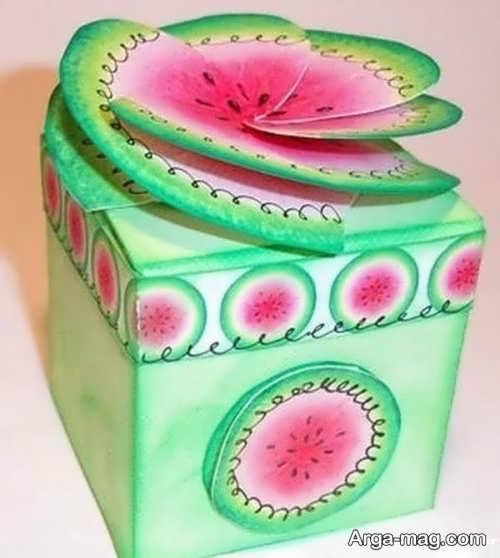 تزیین هدیه شب یلدا به شکل هندوانه