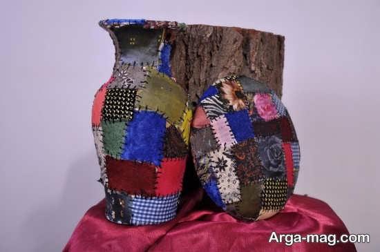 تزیین کوزه و گلدان سفالی با پارچه های رنگی