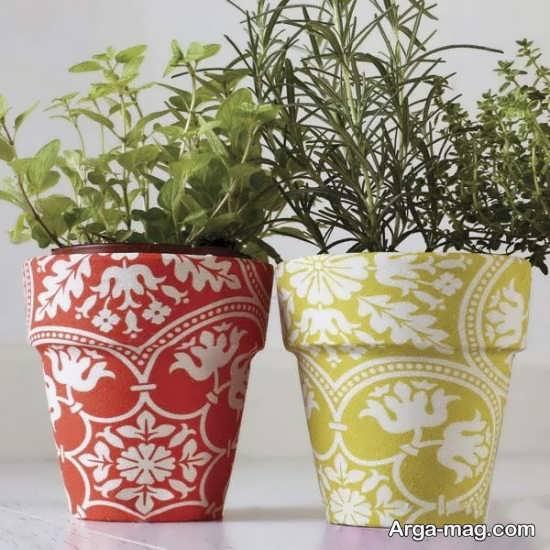 تزیینات گلدان سفالی با وسایل ساده