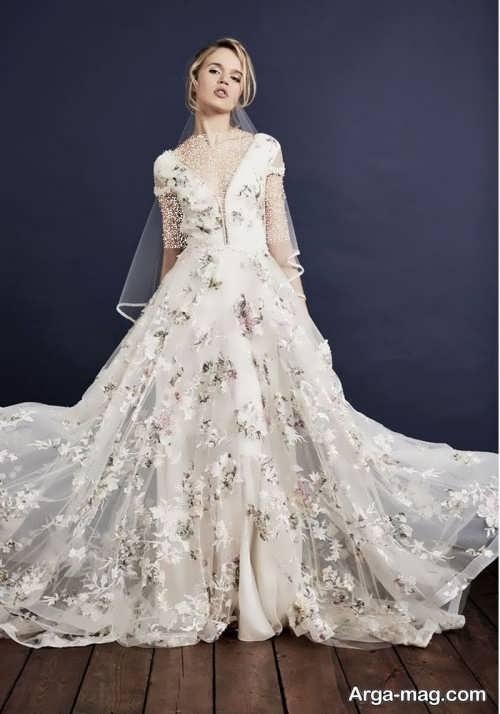 مدل لباس عروس شیک و گلدار