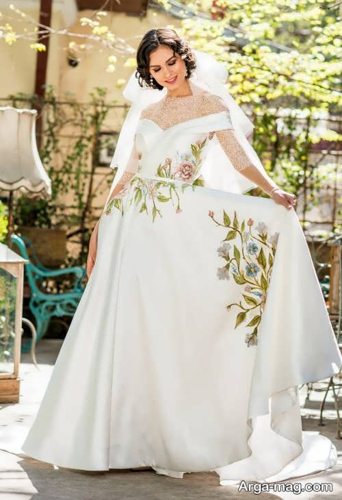 لباس عروس گل دار