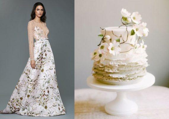 مدل لباس عروس گل دار