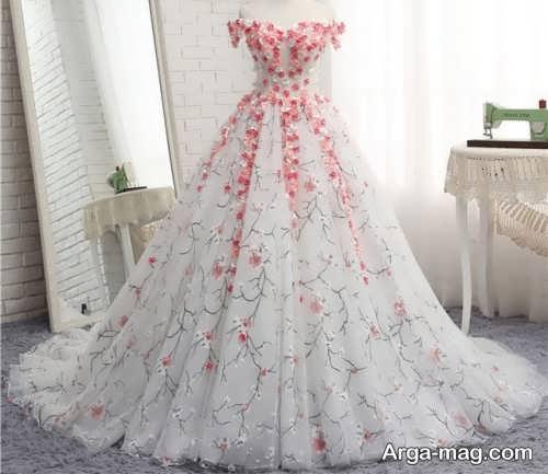 مدل لباس عروس جدید و گلدار