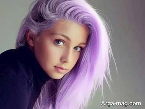 رنگ موی سفید و بنفش روشن