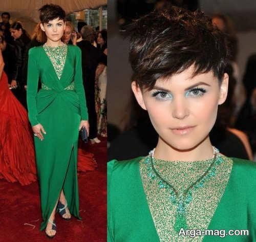 مدل آرایش صورت زنانه با لباس سبز