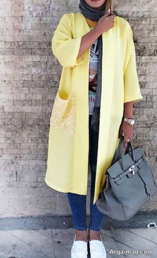 مدل مانتو زرد زنانه