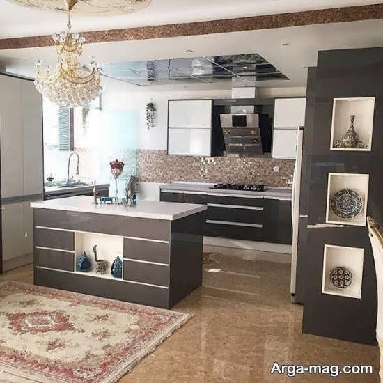 طراحی مدرن آشپزخانه اپن ام دی اف