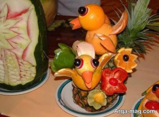 تزیین پرتقال به شکل پرنده برای شب یلدا