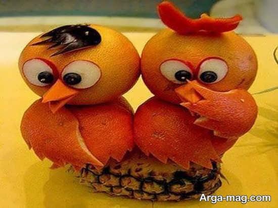تزیین پرتقال به شکل جوجه برای شب یلدا