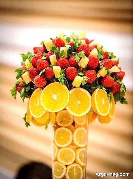 تزیین پرتقال به شکل دسته گل برای شب یلدا