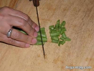 خرد کردن لوبیا سبز