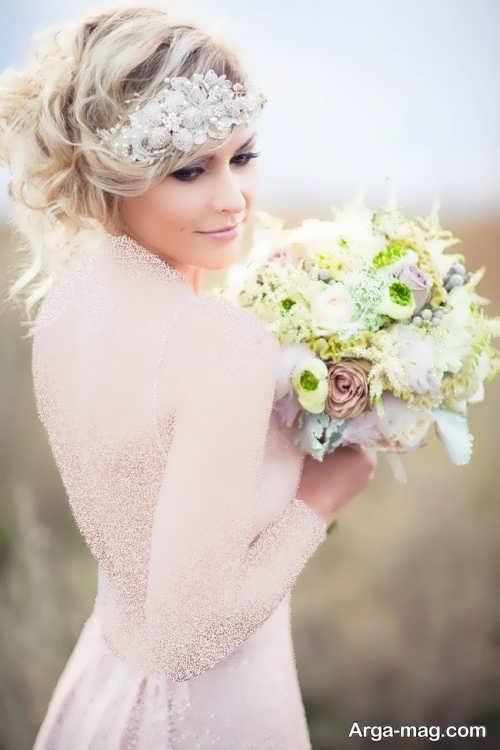 ژست عروس با دسته گل