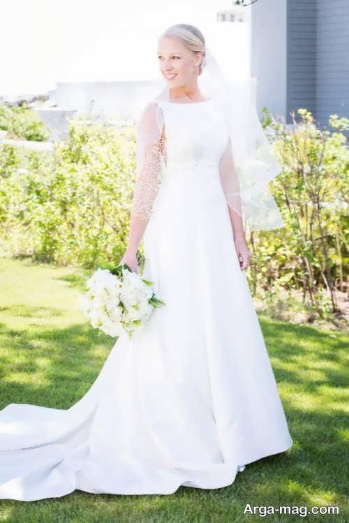 ژست عکس تکی عروس در فضای باز
