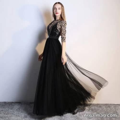 لباس شب مشکی و کار شده با حریر
