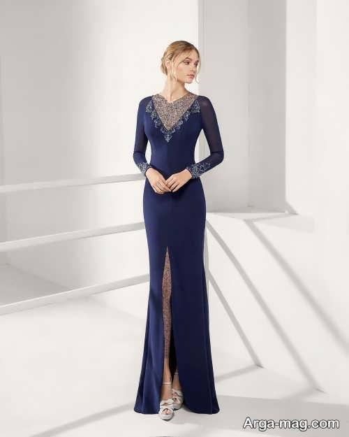 مدل لباس شب سورمه ای