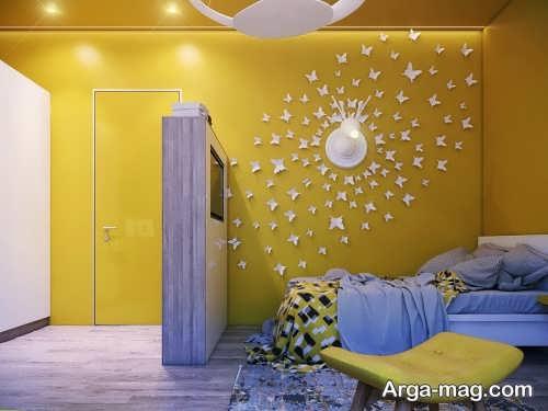 تزیین دیوار زرد